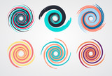 color spiral swirl set circle with brush in flat style vector illustration - 146000304