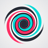 color spiral swirl with brush in flat style vector illustration - 146000320