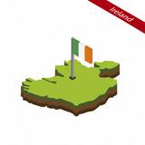 Ireland Isometric map and flag. Vector Illustration.