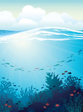 Coral reef and fish. Underwater sea.
