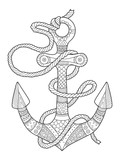 Anchor and rope coloring book vector illustration