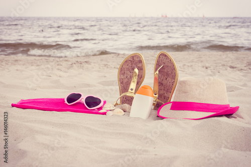 Poster Vintage photo, Accessories for vacation on sand at beach, sun protection, summer