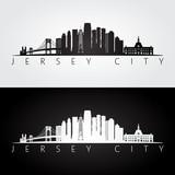 Jersey City USA skyline and landmarks silhouette. - 146017948