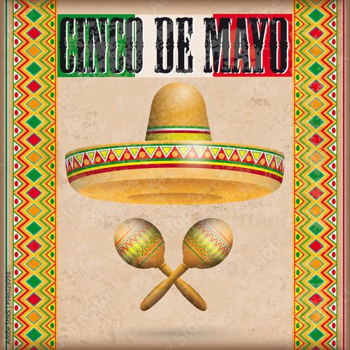 Vintage Mexican Ornaments Sombrero Maracas Cinco de Mayo