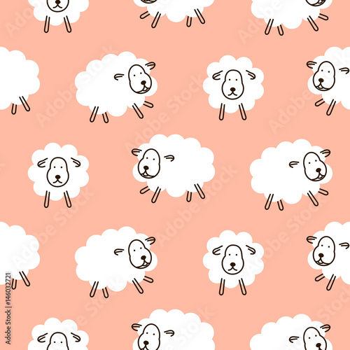 Cotton fabric Baby sheep girlish cute seamless vector pattern. Soft pink animal background design for swaddle blanket and apparel textile.