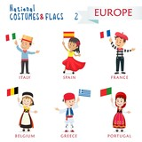 National costumes and flags of the nations - Kids of the world - Europe