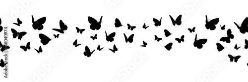 Banner nahtlos mit schwarzen Schmetterling Silhouetten