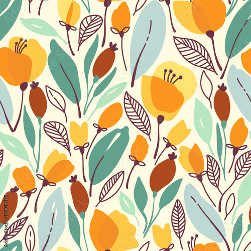 Seamless floral pattern with yellow flowers and leaves. Vector illustration - 146044370