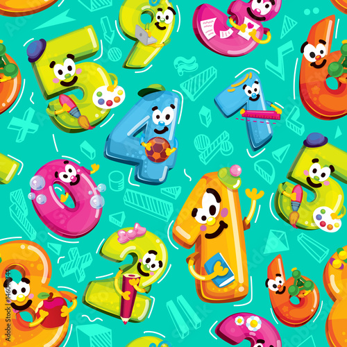 Cotton fabric Seamless vector pattern of funny cartoon figures. School life and mathematics on a blue background. Numbers of figures with smiles characters