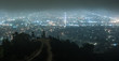 Quadro Hazy city lights of Los angeles at night