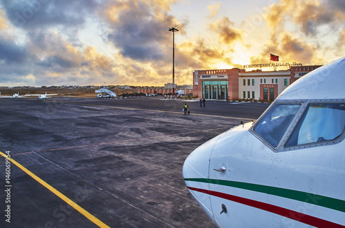 Take-off at sunrise, Dakhla airport