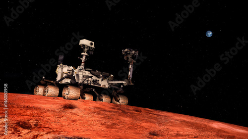 In de dag Nasa Extremely detailed and realistic high resolution 3D image of Space Exploration Vehicle Curiosity searching for life on Mars. Shot from outer space. Elements of this image are furnished by NASA.