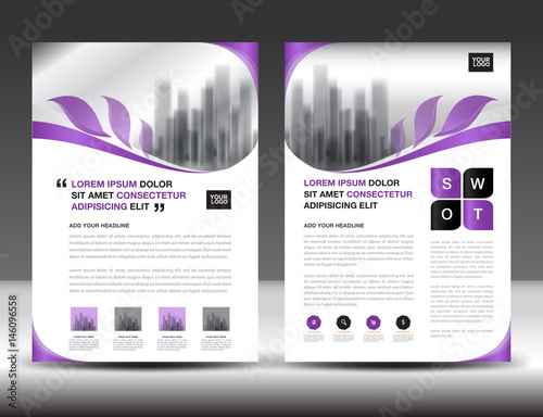 Business brochure flyer template, Purple cover design, annual report, newsletter, ads