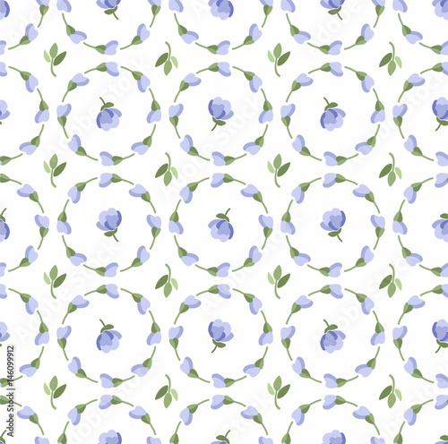 Floral pattern, blue buds and flowers, seamless white background, vector.  Blue flowers on a white field. Colored, flat background. The floral decoration. Circles of flowers.    - 146099912
