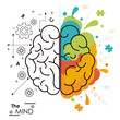 the mind brain human functions left right design vector illustration