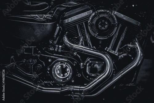 Plagát Motorcycle engine engine exhaust pipes art photography in black and white vintag