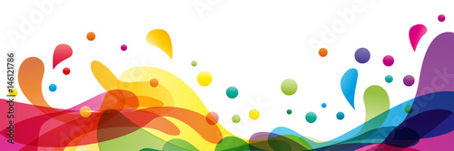 Summer background and banner with water, splash and waves in vector abstract shape - 146121786