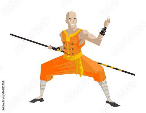 bald shaolin warrior stance with bo staff - 146122798