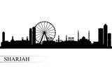 Sharjah city skyline silhouette background