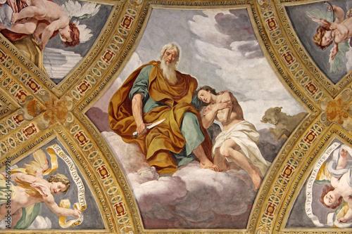 il sacrificio di Isacco; affresco di Daniele Crespi nella Certosa di Garegnano; плакат