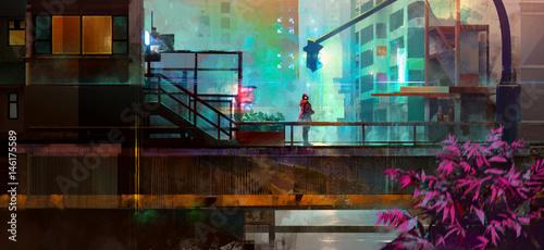 Fototapeta samoprzylepna Painted urban future city with a man