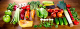 Assortment of fresh fruits and vegetables. Healthy food eating concept.