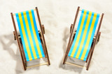Two sunbeds on the beach: top view - 146197188