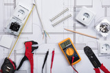 Electrical Instrument With Tools On A Blueprint - 146200375
