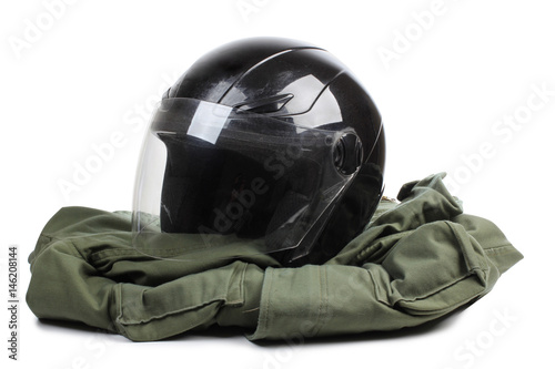 Black motorcycle helmet on a white background Poster