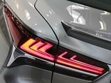 Detail of elegant shape of rear lights on modern japanese exclusive hybrid car