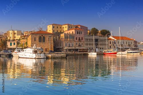 Old Venetian port of Chania at dawn, Crete. Greece