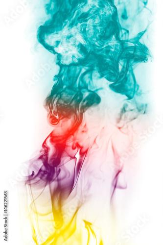 kolorowy-fantazja-dym-na-bialym-tle
