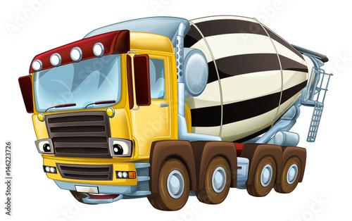 cartoon industry truck concrete mixer illustration for children - 146223726