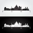 Rome skyline and landmarks silhouette.