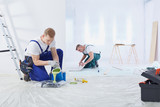 Two painters painting the wall - 146247513