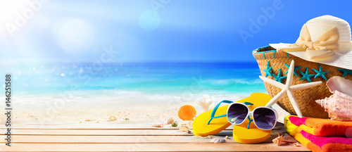 Beach Accessories On Deck Beach - Summer Holidays