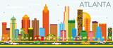 Fototapety Atlanta Skyline with Color Buildings and Blue Sky.