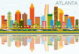 Atlanta Skyline with Color Buildings, Blue Sky and Reflections.