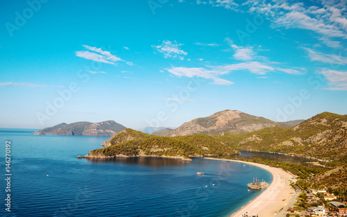 Oludeniz lagoon in sea landscape view of beach