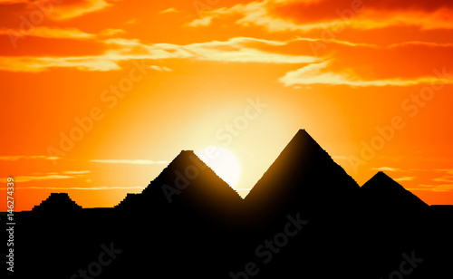 pyramids in sunset