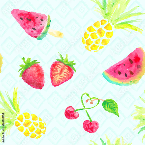 seamless fruits watercolor background - 146282194