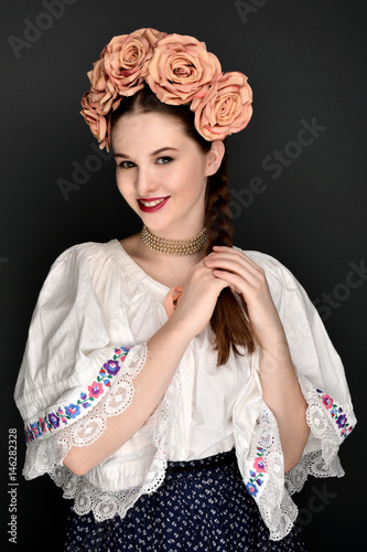 girl in folklore costume