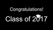 Congratulations class of 2017 black and white banner with a graduation cap on the 0