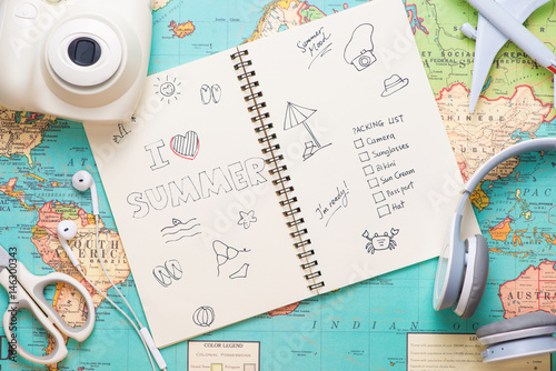 I Love Summer written on pen notebook. Vacation Holiday Concept