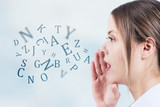 Fototapety Woman talking with alphabet letters coming out of her mouth