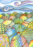 Summer day. Fairy landscape. Colorful hills with houses and roads. Fantasy pencil drawing.