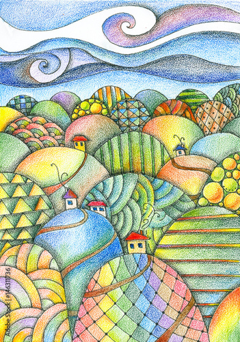 Staande foto Zwavel geel Summer day. Fairy landscape. Colorful hills with houses and roads. Fantasy pencil drawing.