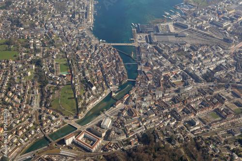 Schweiz Luzern Innenstadt See Stadt Luftbild Poster