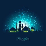 Mosque silhouette in night sky and light for ramadan of Islam