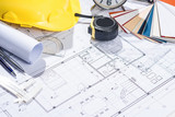 Architects workplace - architectural project with blueprints. - 146363717